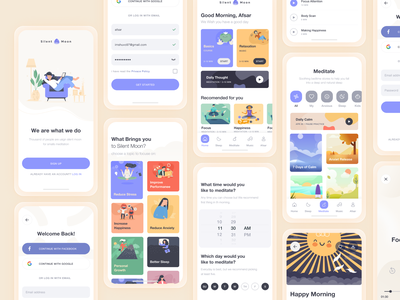Silent Moon: Meditation App (Light Version) deshboard ecommerce minimal website flat animation icon web app typography mobile ux branding vector ui logo design illustration landing page meditation
