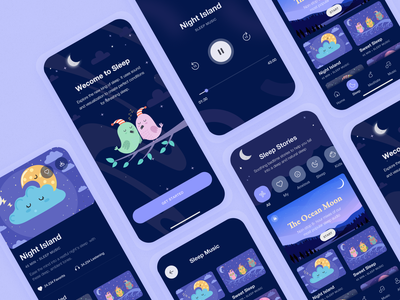 Silent Moon: Meditation App (Sleep Stories) application ecommerce animation deshboard website minimal flat web app typogaphy ux branding vector ui icon logo design illustration landing page meditation