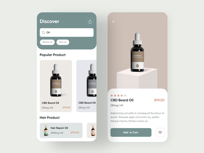 Beard Oil Mobile App (Product Concept) shop product page mobile product design add to cart deshboard ecommerce minimal flat animation web app icon ux tyography branding ui logo desing oil beard oil