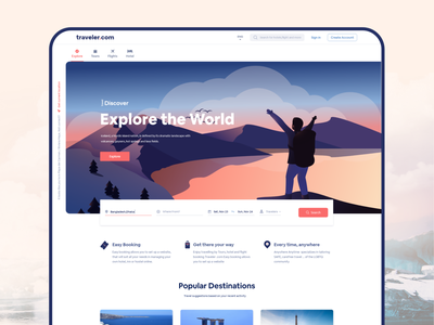 Traveler.com typography design art web application app design web design trends visual design interface web landing page landingpage agency uxdesign uidesign uiux travelling traveling travel app travel agency webdesign travel