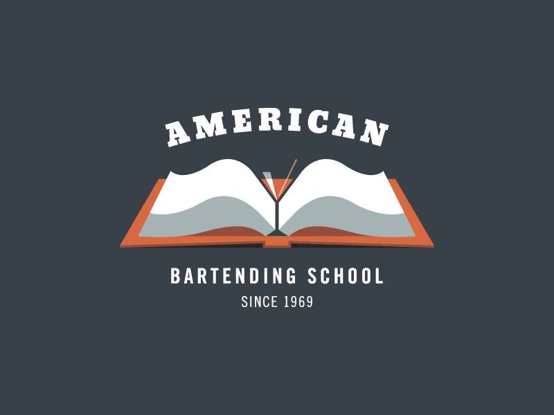 American Bartending School brand mark martini school logo book typography glass type bartending american