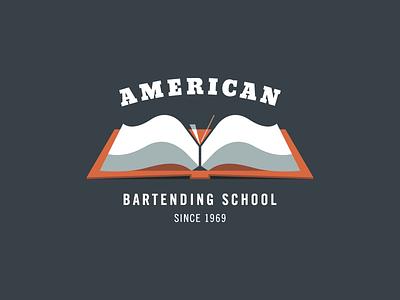 American Bartending School brand mark martini school logo book typography glass type bartending american