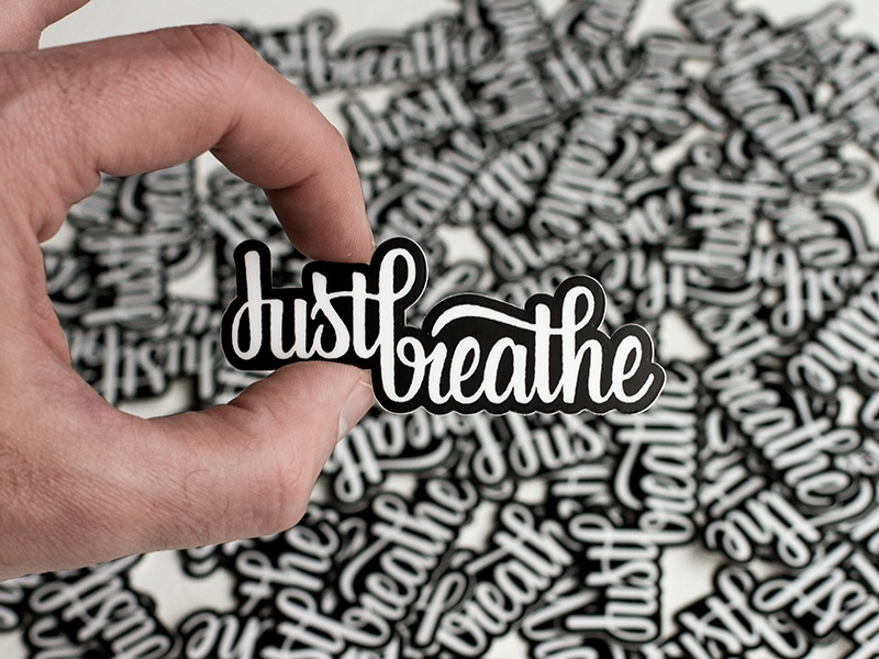 Just Breathe Stickers handlettering lettering