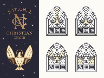 The NCC Elements bird shield monogram moon sun fish christian dove typography type logo