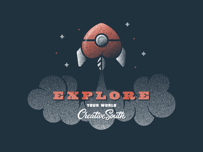 Explore rocket stipple space hand lettering lettering typography type illustration creative south