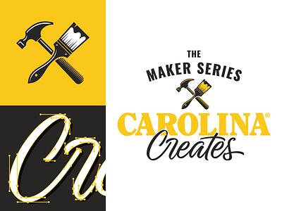 Carolina Creates paint brush hammer tools icon identity branding logo typography type hand lettering lettering