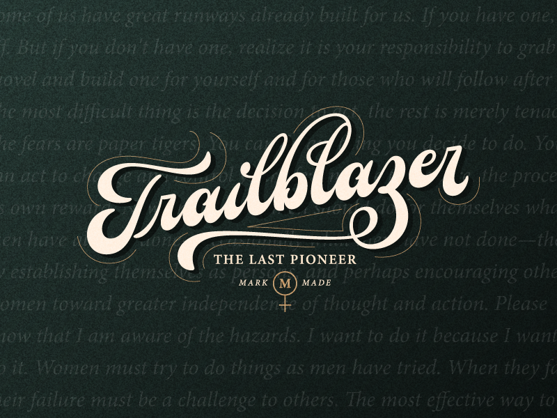 Trailblazer logotype logo clothing apparel calligraphy script typography type hand lettering lettering women