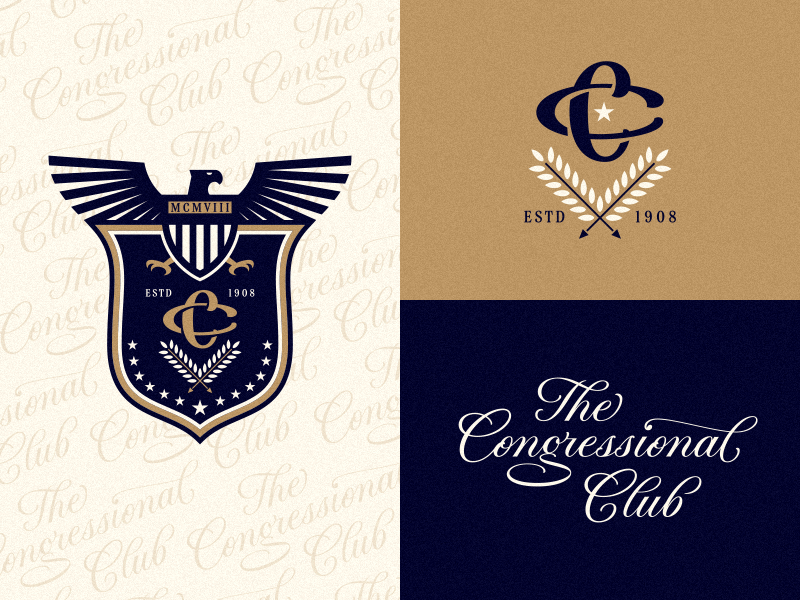 The Congressional Club logotype badge cc monogram eagle seal typography type calligraphy hand lettering lettering logo