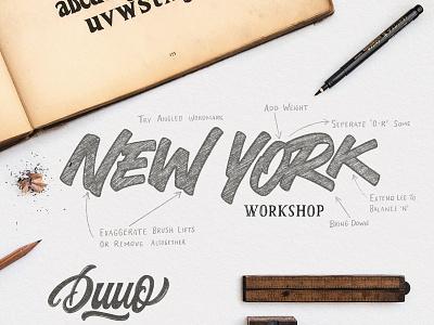 New York Workshop vintage branding visual  identity la new york wordmark identity brush calligraphy logotype script type logo typography hand lettering lettering