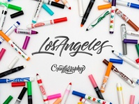 Los Angeles Crayligraphy Workshop custom wordmark design identity beginner type typography logotype logo hand lettering landing page los angeles calligraphy workshop lettering