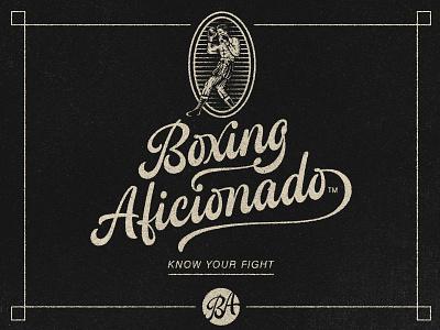 Boxing Aficionado engraving monogram boxer logo design vintage rebrand boxing design illustration identity script logotype logo type typography lettering hand lettering