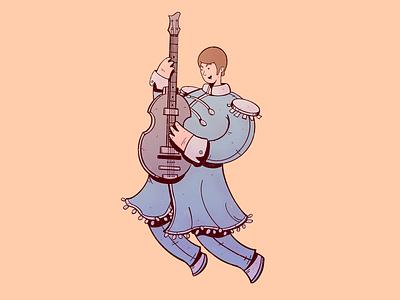 Paul McCartney rock and roll guitar cartoon rock paul mccartney the beatles illustration character design cartoon character