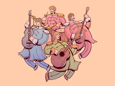 The Beatles art rock band rock paul mccartney john lennon the beatles cartoon drawing illustration character design cartoon character