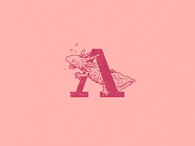 A: Axolotl alphabet logo logos typogaphy illustration axolotl a type 36 days of type