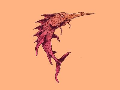 INKTOBER DAY 5: BLADE swordfish fish creature design drawing cartoon inktober character design cartoon character art illustration