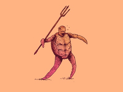 INKTOBER DAY 9: THROW sea turtle trident throw turtle inktober 2020 inktober character design cartoon character art illustration