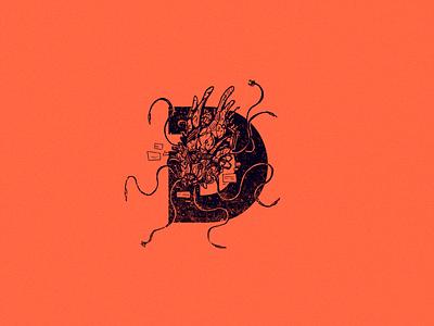 D for digital virus type robot logo d virus scifi 36 days of type 36daysoftype drawing character design art illustration