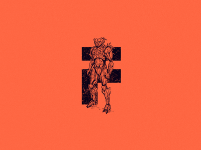 F for future traveller time traveller space halo forerunner halo scifi android robot future f type logo 36 days of type 36daysoftype drawing character design art illustration