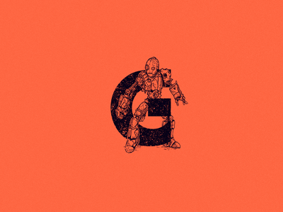 G for gear ancient gear steampunk gear android robot 36 days of type 2021 type logo 36daysoftype 36 days of type drawing cartoon character character design art illustration