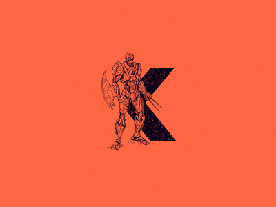 K for killer bot k wolverine killer bot killer robot android type logo 36daysoftype 36 days of type drawing character design art illustration