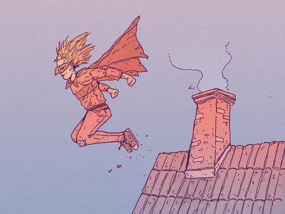 INKTOBER DAY 13: ROOF boy kid sidekick superhero inktober roof roof inktober 2021 design inktober drawing character design art illustration