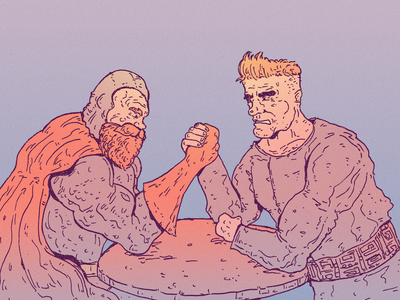 INKTOBER DAY 17: COLLIDE muscles strong wrestling arm wrestling collide inktober 2021 superhero inktober cartoon character drawing character design art illustration