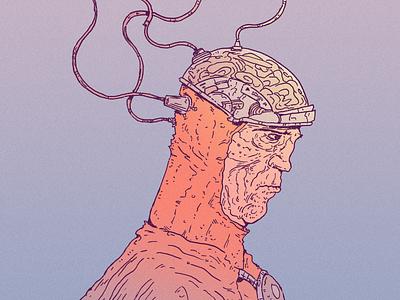 INKTOBER DAY 26: CONNECT brainwave inktober 2021 helmet connect brain inktober drawing character design art illustration