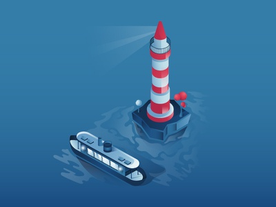 We're the Light in the Dark ! uidesign lighthouse boat illustration isometric