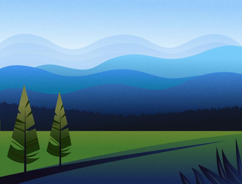 Rural Landscape view vectorart vector design concept journey mountains trees green field scenery nature nature illustration landscape