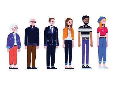 Generations generation x millenial generation z generation y illustrator vector flat illustration character design flat illustration flat design