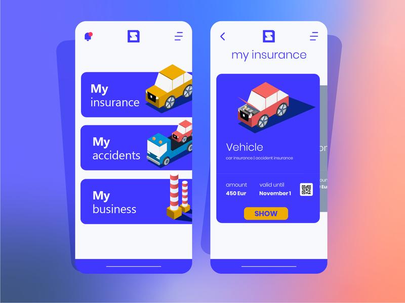 Custom insurance app mobile graphic design illustraion uidesign ui