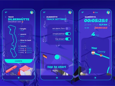 Virtual race app social distancing skiing winter graphic  design isometric illustration design ux ui mobile sport race