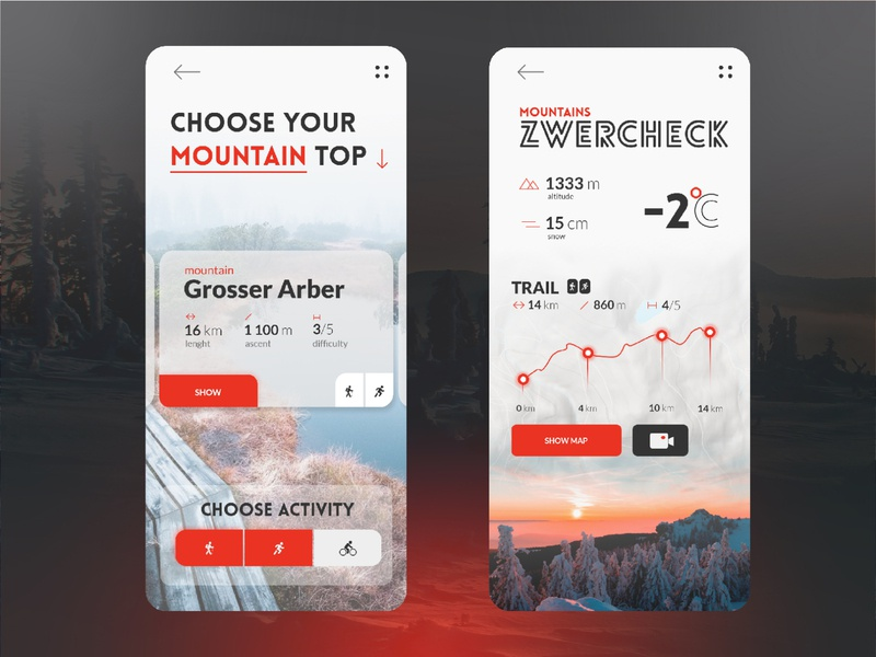 Choose your trail App uiuxdesign czechia germany photo map vacation trip travel app cards ui uidesign ui app sport mountains mobile