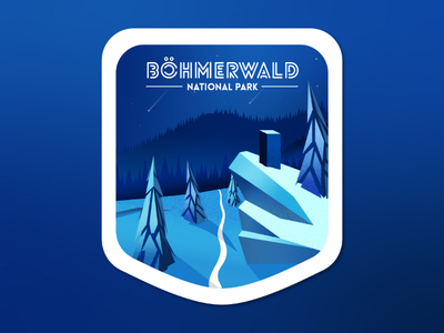 Mountains winter countryside Badge trail mountain landscape countryside winter graphic design illustration