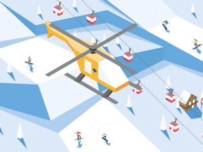 Isometric winter ski resort illustration with rescue helicopter ski lift austria helicopter ski resort design isometric illustration