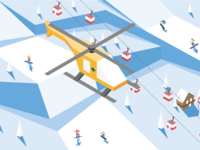 Isometric winter ski resort illustration with rescue helicopter