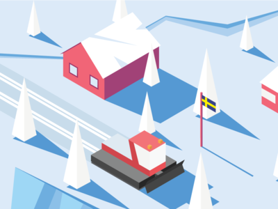 Isometric nordic countryside with ski tracks making roller cross-country skiing falu röd färg winter vector isometric illustration