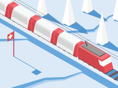 Isometric swiss panoramatic train in winter countryside illustration isometric winter swiss train