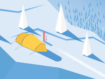 Isometric expedition tent on a plateau ski expedition winter countryside isometric tent