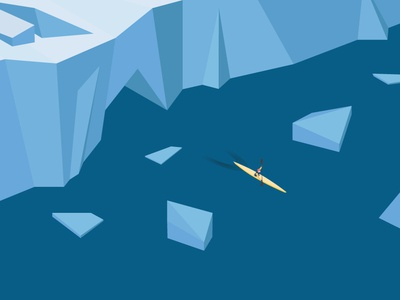 Isometric arctic kayaking graphic design greenland glacier sport arctic isometric global warming kayak