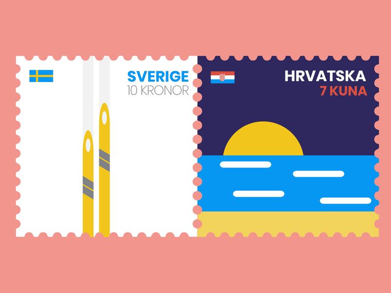 Post stamps croatia sweden facebook travel flat  design post stamps