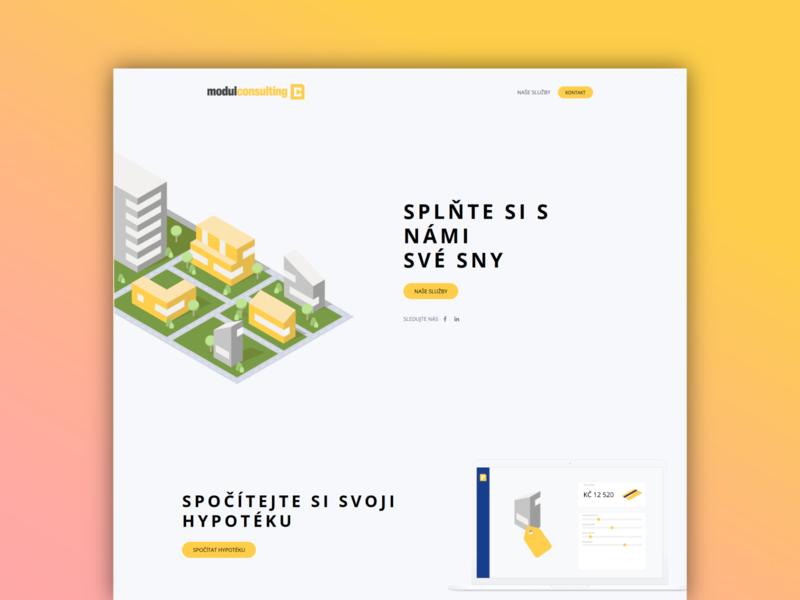 Mortgage broker website one page website clean design isometric illustration wordpress webdesign