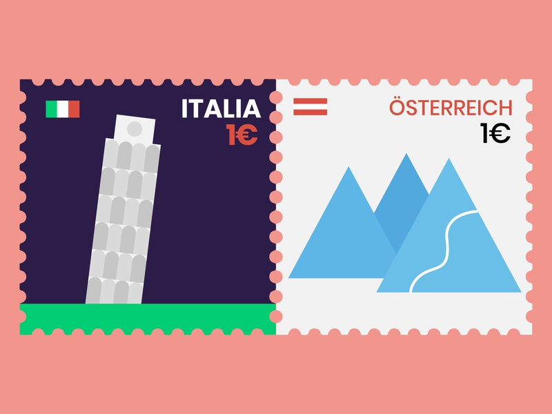 Post stamps alps pisa mountains facebook ad travel stamps austria italy flat  design
