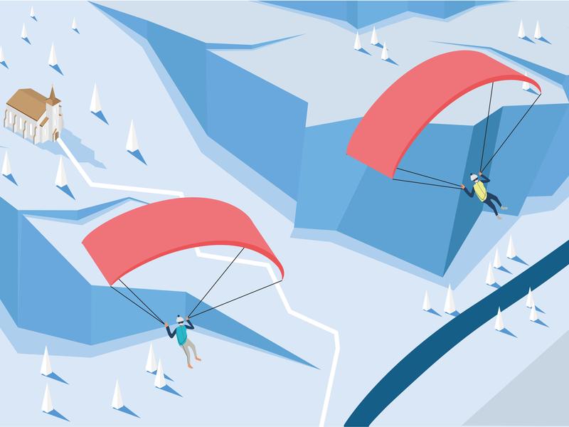 Paragliders above the winter landscape sport winter scene advertisement graphic  design illustration isometry