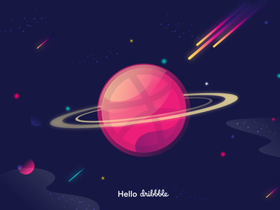 Hello dribbble website stars spaced space pink illustration hello eclipse dribbble astronaut