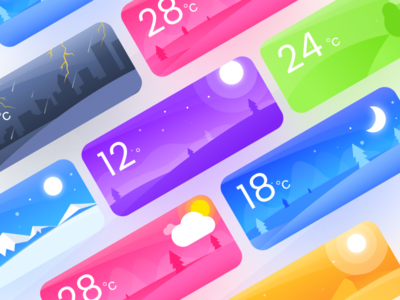 Weather Cards ios winter illustration app card ui weather