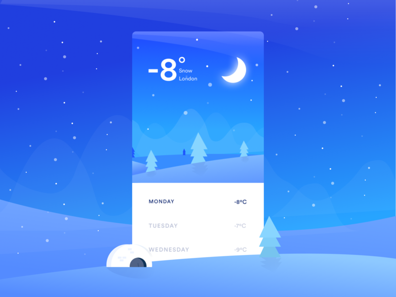 Weather app vector winter design ios illustration weather app ui