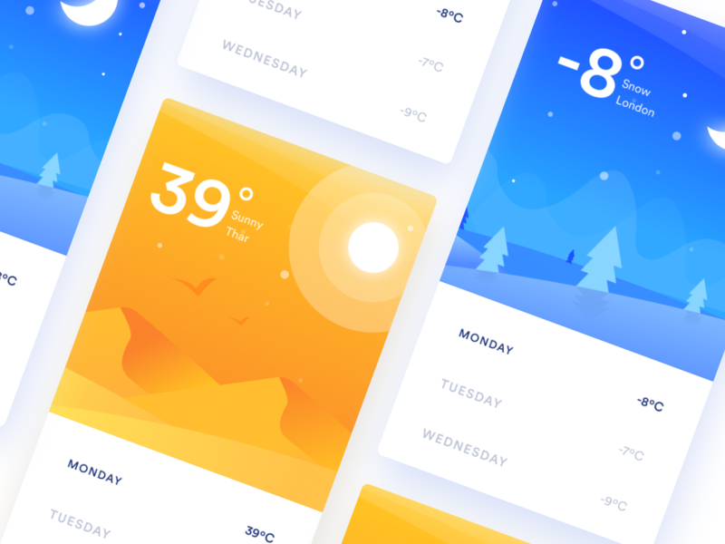 Weather App UI Design ios weather app ui