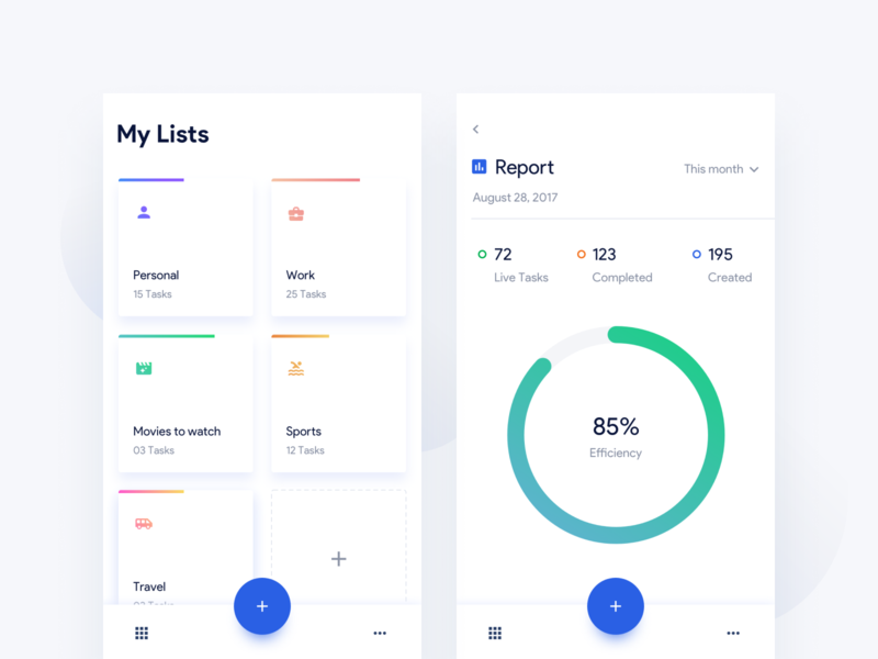 Tasks - Report app graph reports statistics layout minimal uidesign ux mobileapp ios ui