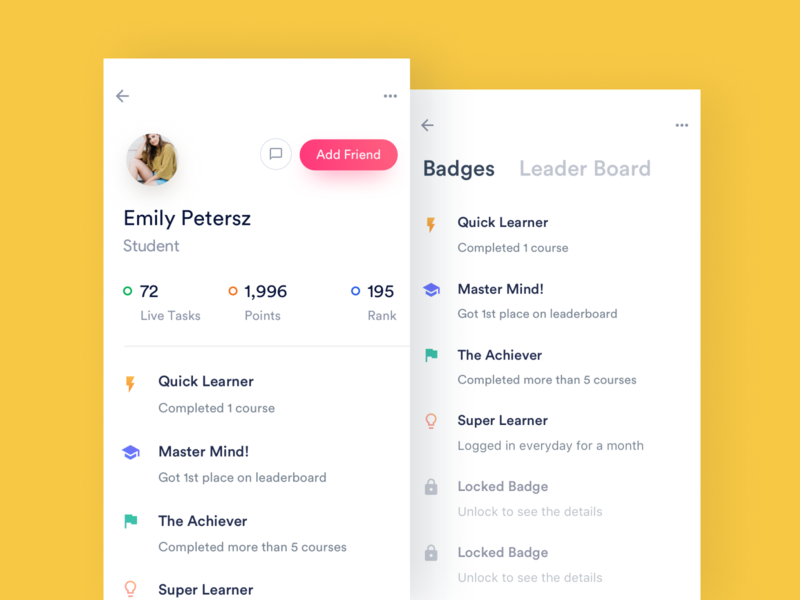 Learning App - Student Profile leaderboard badges profile profileui student minimal layout ios ux ui